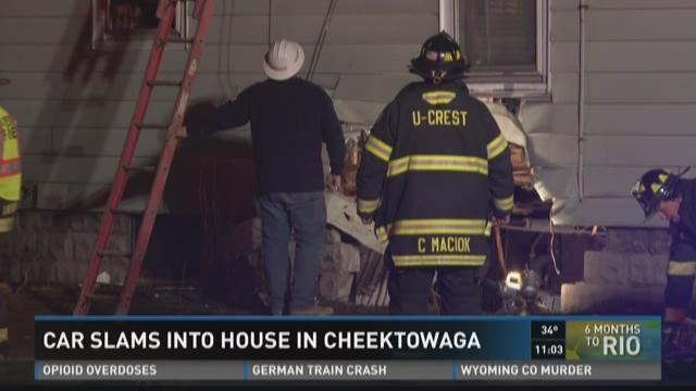 Car slams into house in Cheektowaga