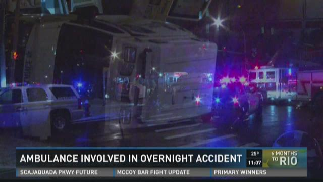 Ambulance involved in overnight accident