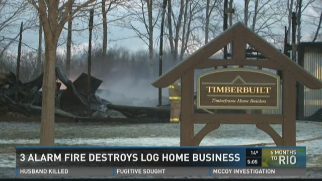 3 ALARM FIRE DESTROYS LOG HOME BUSINESS