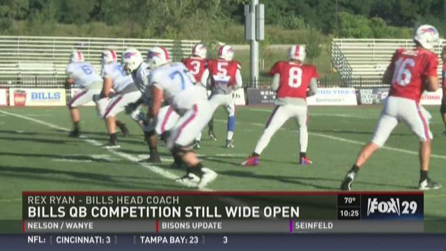Aug 20, 2015; Cleveland, OH, USA; Buffalo Bills quarterback Tyrod Taylor (5) warms up before the game between the Cleveland Browns and the Buffalo Bills at FirstEnergy Stadium. Mandatory Credit: Ken Blaze-USA TODAY Sports
